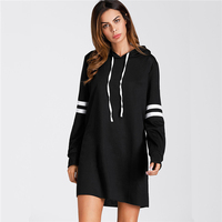 Fenghua Fashion Autumn Winter Dress Women 2018 Vintage Long Sleeve Dress Female Elegant Casual Hoody Dress