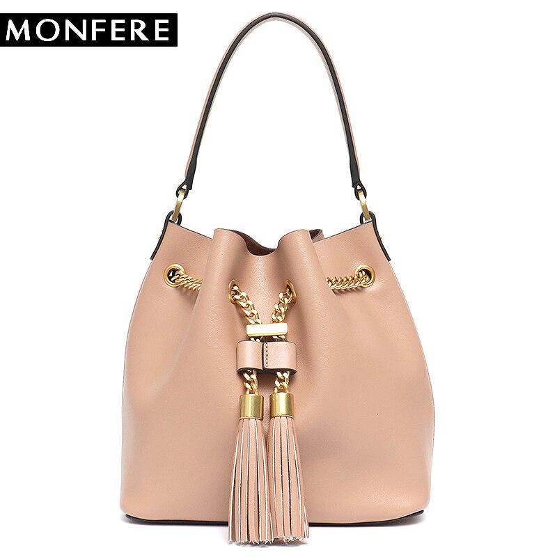 MONFERE Genuine Leather Fashion Women Bucket Ladies Tassel String Handbag Drawstring Tote Bag High Quality Cowhide Messenger Bag недорго, оригинальная цена