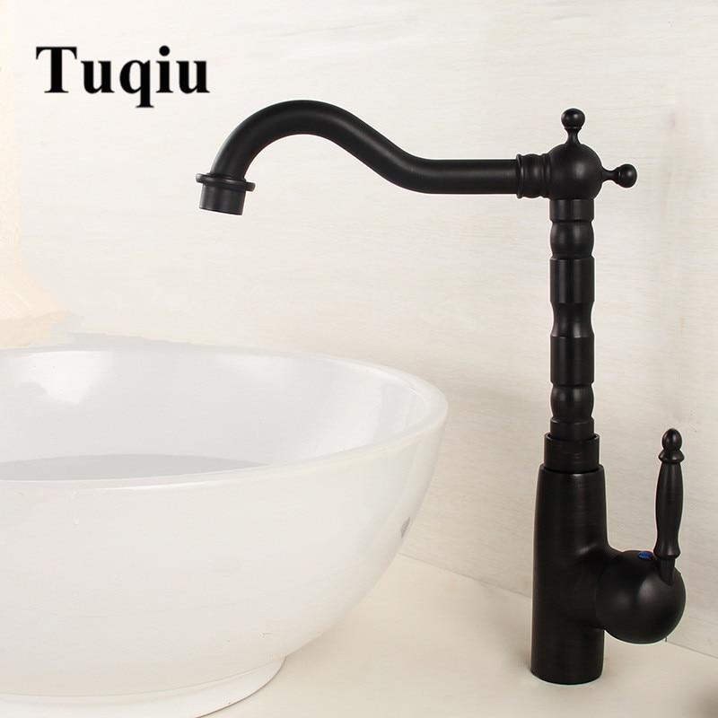 Basin Faucet Single Handle Deck Mounted Kitchen Vessel Sink Faucet Black Oil Brushed Copper Faucet Kitchen Faucet