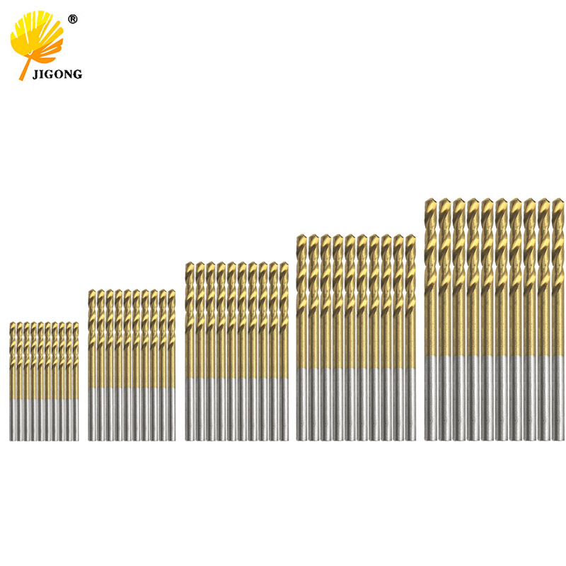 50Pcs Titanium Coated HSS High Speed Steel Drill Bit Set Tool 1mm 1.5mm 2mm 2.5mm 3mm 50pcs hss twist drill bit set titanium coated high speed steel drill bit set woodworking wood tool 1 1 5 2 2 5 3mm power tools