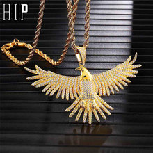 цена на Hip Hop Full Iced Out Bling eagle Rhinestone Rope Chain Gold Color Pendants & Necklaces For Men Jewelry Dropshipping