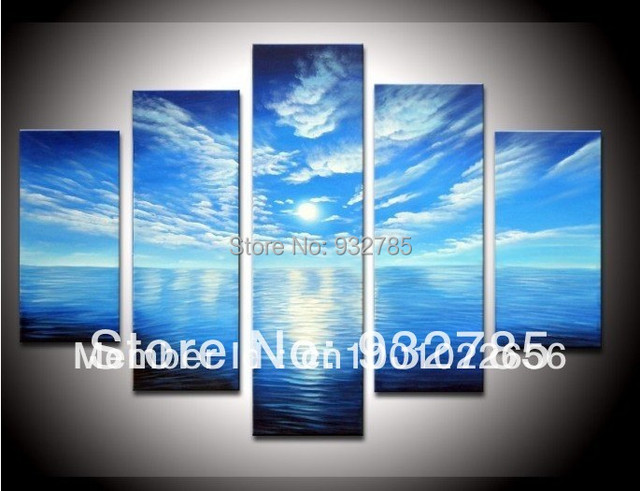 100 Hand Painted Blue Sky White Clouds Ocean Landscape Oil Painting On Canvas 5