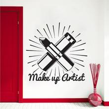 Make Up Artist Wall Sticker Beauty Salon Cosmetics Decal Lipstick Art Mural Shop Decor Vinyl AY1080