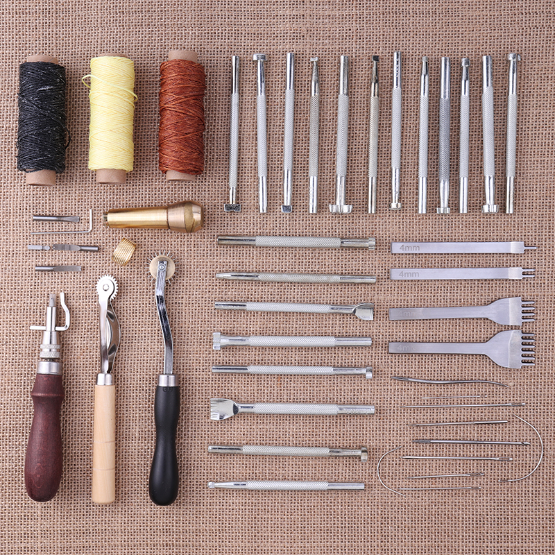 Image 2 - 48 pcs/set Leather Craft Tools Kit With 20 pc Printing Tools Sewing Saddle Groover Leather Processing Tool Set Sewing Supplies-in Leathercraft Tool Sets from Home & Garden