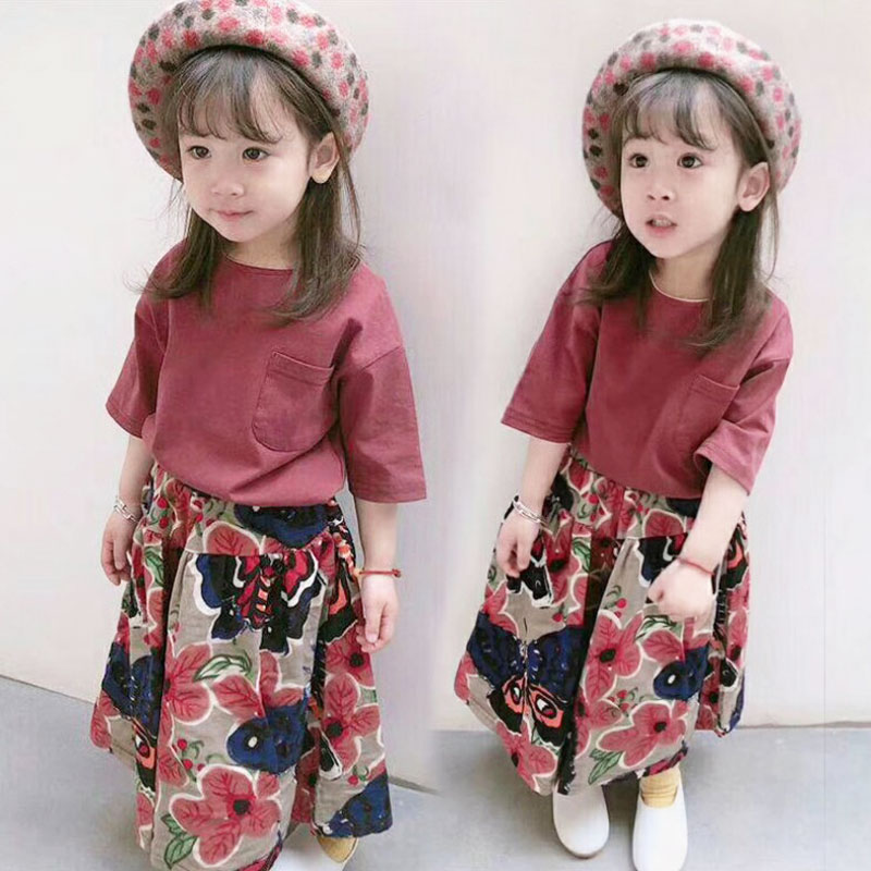 2PCS Toddler Kids Girl Clothing Set Pure Color T-shirt Tops + ankle-length Bell Bottom Trouser Outfits Children Summer Clothes