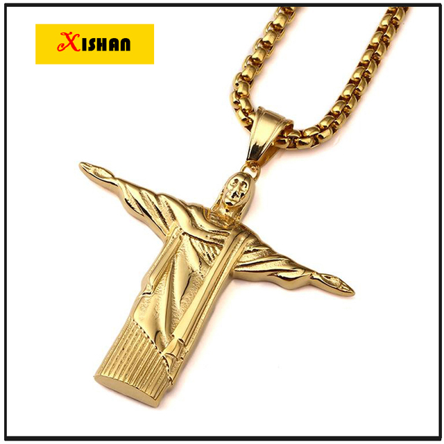 """Stainless Steel Gold Plated Christ The Redeemer Hip Hop Rio De Janeiro Statue Jesus Charm 27.5"""" Cuban Box Chain Necklace"""