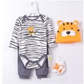 2016 Baby boy Clothes Suits 4-pieces Set baby clothing girl Bodysuit pant t-shirt sock bib 5pcs sets bebes jumpsuits newborn