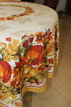 VEZO HOME new arrival printed floral plant pumpkin vines round rectangle square table cloth jacquard tablecloth home table decor