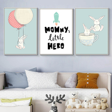 Kids Room Cartoon Poster Rabbit Painting Balloon Wall Art Baby Room Picture Nordic Canvas Art Quotes Posters And Prints Unframed posters and prints kids room cartoon rabbit paintings wall decor picture poster nursery wall art nordic poster pink unframed