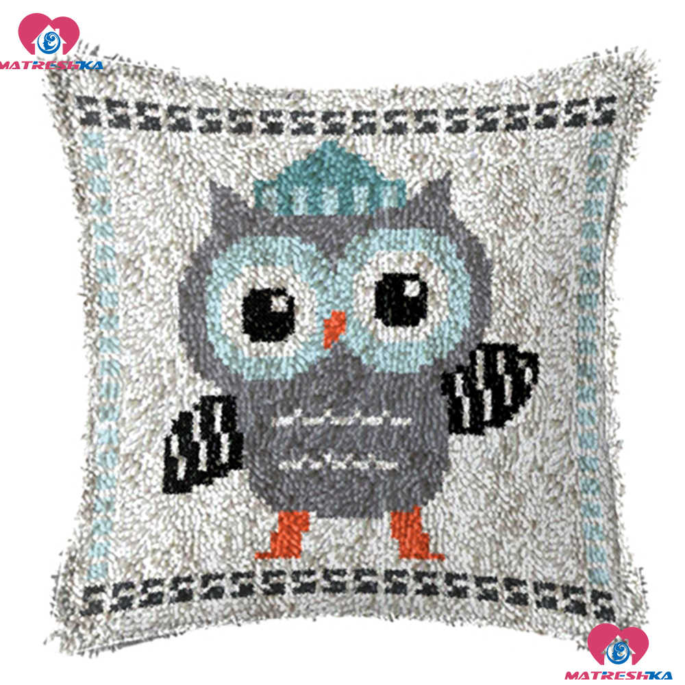 "Latch Hook Kit Embroidery Pillow""owl""do it yourself""Home decor Accessories Printing Canvas foamiran for needlework crochet rug"