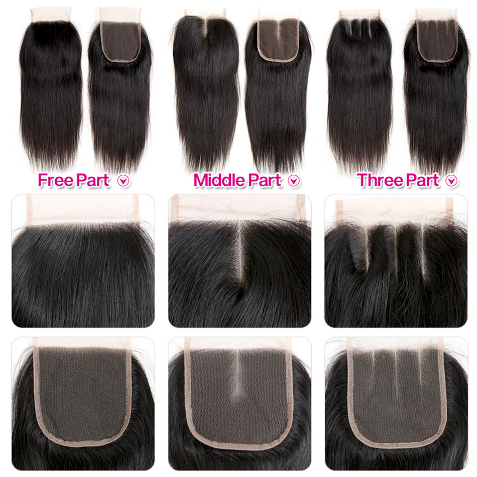 Image 4 - Indian Straight Human Hair Bundles With Closure 3 Bundles Deal With Closure 4 Pcs/Lot MIHAIR Bundles Remy Middle Part-in 3/4 Bundles with Closure from Hair Extensions & Wigs
