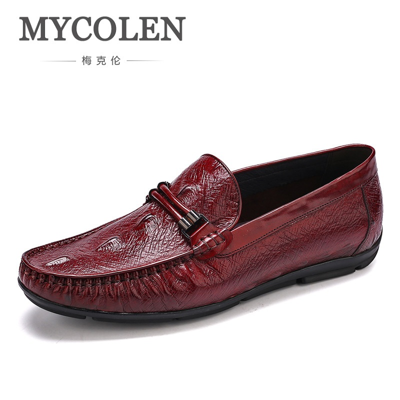 MYCOLEN Spring Autumn Men Flats Genuine Leather Breathable Loafers Fashion Slip-On Boat Shoes British Style Male Driving Shoes