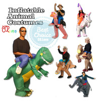 Hot Adult Halloween Party Costumes Inflatable Dinosaur Costumes Batter Fan Blow Up Suits One Size