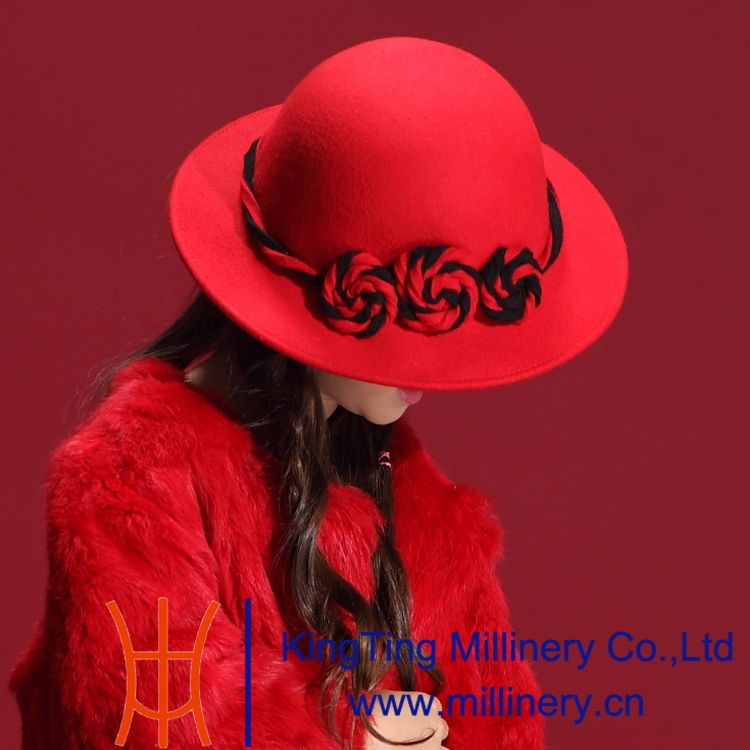 ФОТО Free Shipping New Autumn and Winter Children Flaming Red Dress Natural 100% Wool Felt Hat Modern Flower Lace Elegant Cute