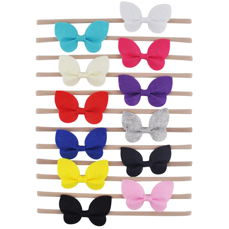 12 Pcs Butterfly Hair Bows Headband Soft Felt With Elastic Nylon Head Band For Small Girls Boutique Hair Accessories Wholesale bebe girls flower headband four felt rose flowers head band elastic hairbands rainbow headwear hair accessories