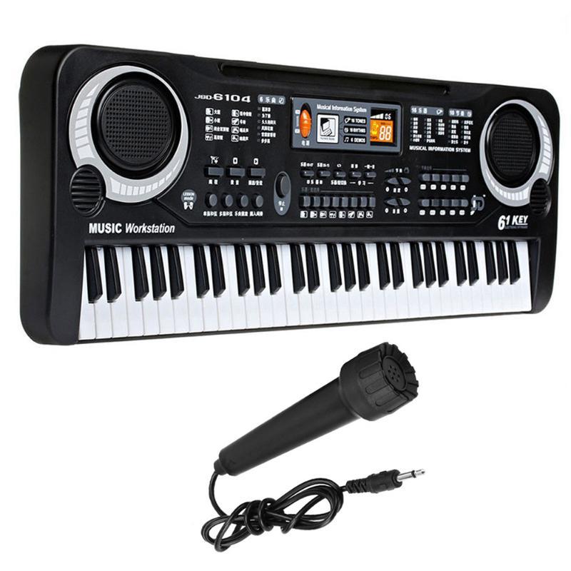 Enfants Musical Instrument Piano Clavier 61 Touches Piano Électronique Clavier avec Microphone Classique Apprentissage de La Musique Jouet (US plug)