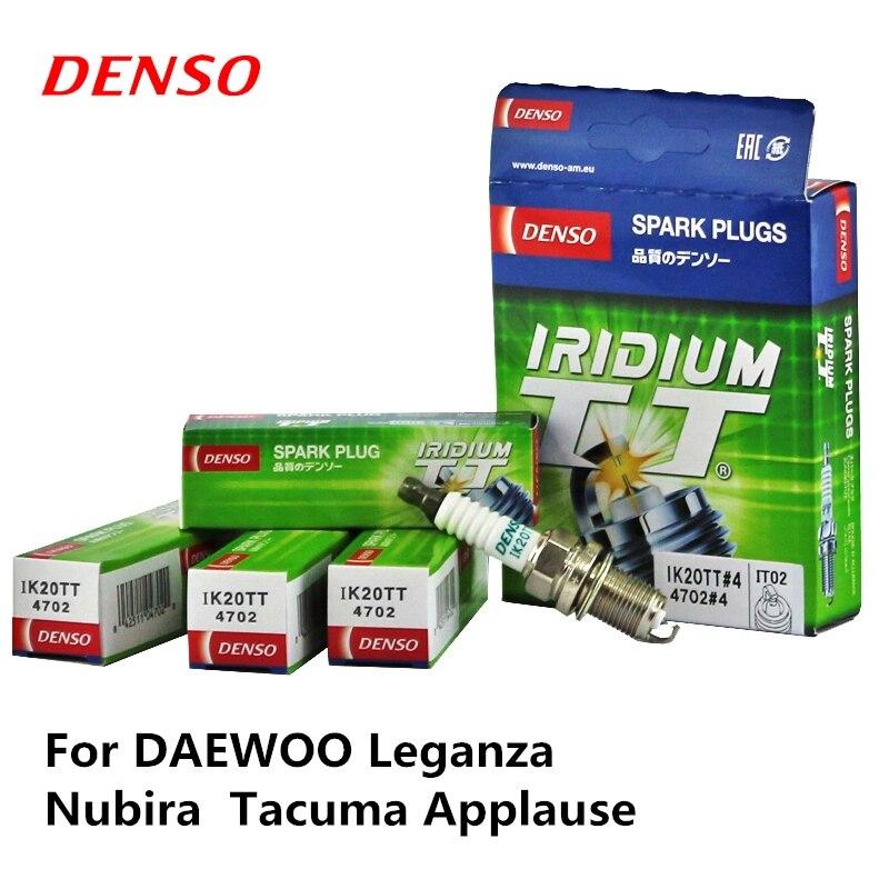 Bougie d'allumage de voiture DENSO 4 pièces/ensemble pour DAEWOO Leganza Nubira Tacuma applaudissements Iridium Platinum IK20TT