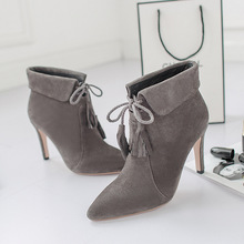 New Winter Real Leather Pointed Toe Stiletto Lace Up Tassel Gray Women Sexy Ankle Martin Boots Sheepskin Female Booties Shoes