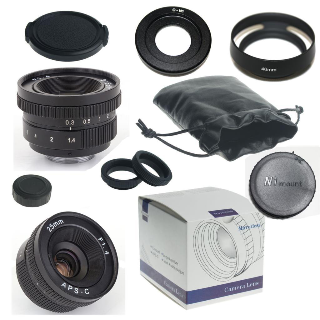 Ξ25mm F1.4-16 APS-C CCTV TV película C montaje lente para Nikon1 V1 ...