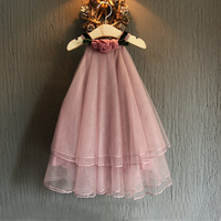 New Summer Chiffon Baby Girls Dress Flower Decorate Collar New Design Girls Party Costume Pricess Cool Girls Clothes 3~7 T
