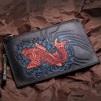 Handmade Women Men Vegetable Tanned Leather Carvings Fish Bag Money Holder Clutch Purse Pocket Man Clutches Envelope