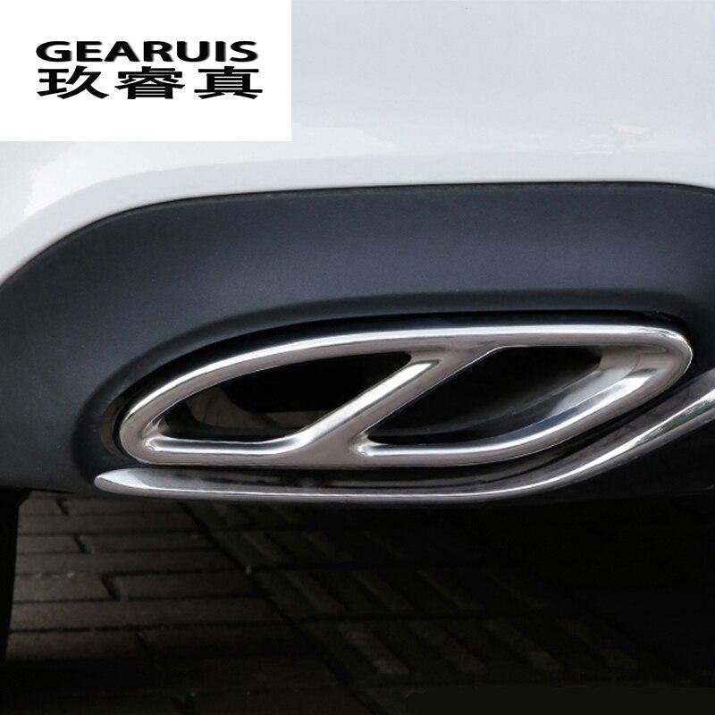 Estilo de coche de cola la decoración de tubo de escape cubierta Sitcker Trim para Mercedes Benz GLC C Clase E W213 W205 Auto Accesorios