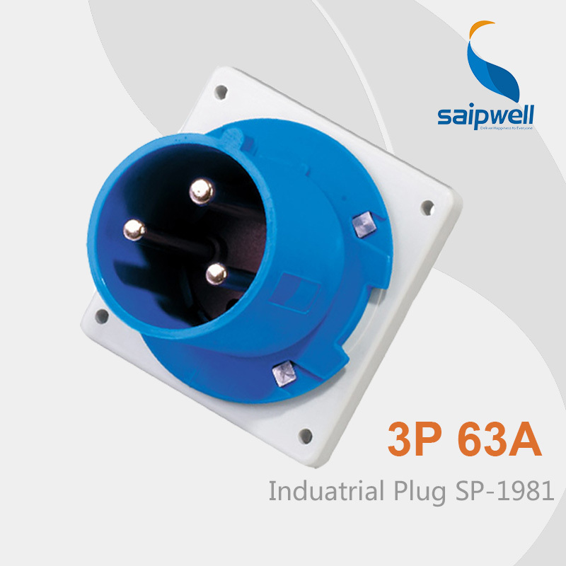 цена на Saipwell 2014 IP44 3 pin Connector Plug 63a Industrial Plug Electrical Plug Waterproof Connectors SP-1981 High Quality