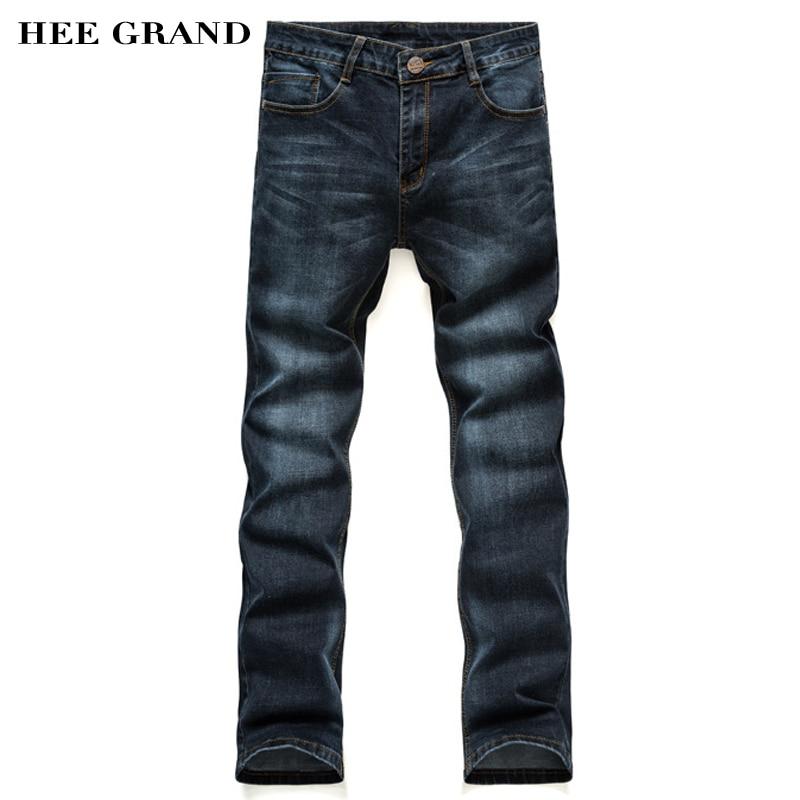 ФОТО HEE GRAND Men Casual Straight Jeans Full Length Mid-Waist Men Demin Trousers Four Seasons Classic Styles Pants MKN878