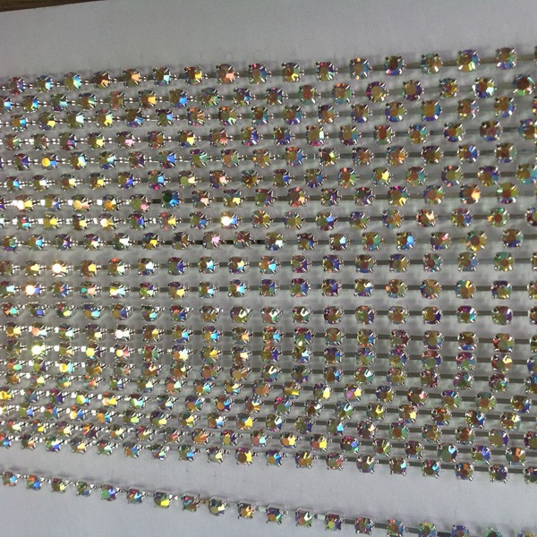 5 мм золото кристалл Цвет цепочка с хрусталем отделка; Кристалл Цепочки камней рулоны размер 5 мм Золотое основание с чистым цветом 10 ярдов