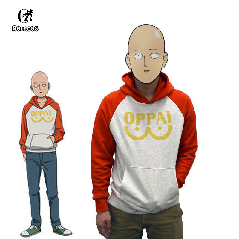 ROLECOS Anime One Punch Man 2 Cosplay Costume Hero Saitama Cosplay Sweatshirt Oppai Long Sleeve Casual Hooded Sweatshirt for Men