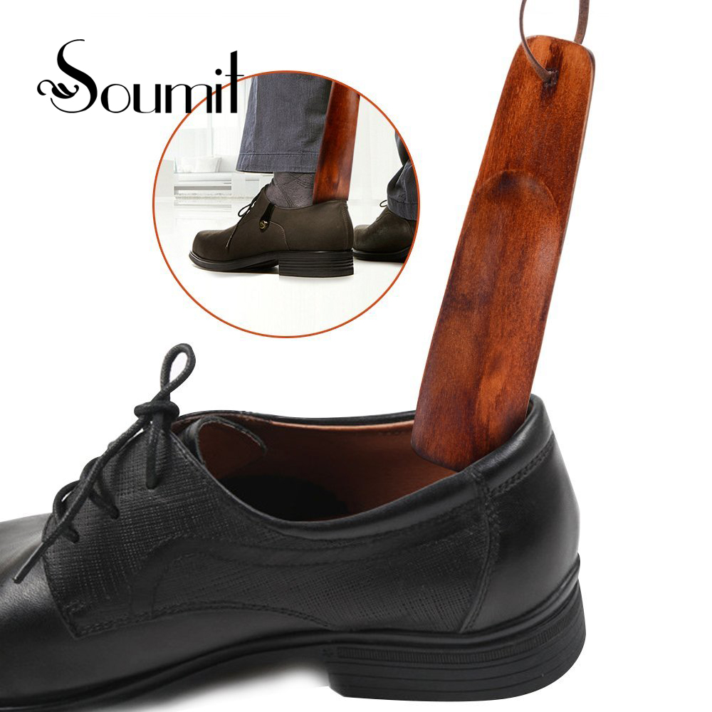 все цены на Soumit 2PCS 15.5cm Portable Craft Birch Wood Shoe Horn Wood Handle Shoe Horn Lifter Shoehorn+Leather Rope For Shoes Accessories онлайн