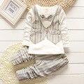 Novo 2015 outono terno cavalheiro roupas meninos colete + mangas compridas camisa + calça / estilo Popular bebe roupas