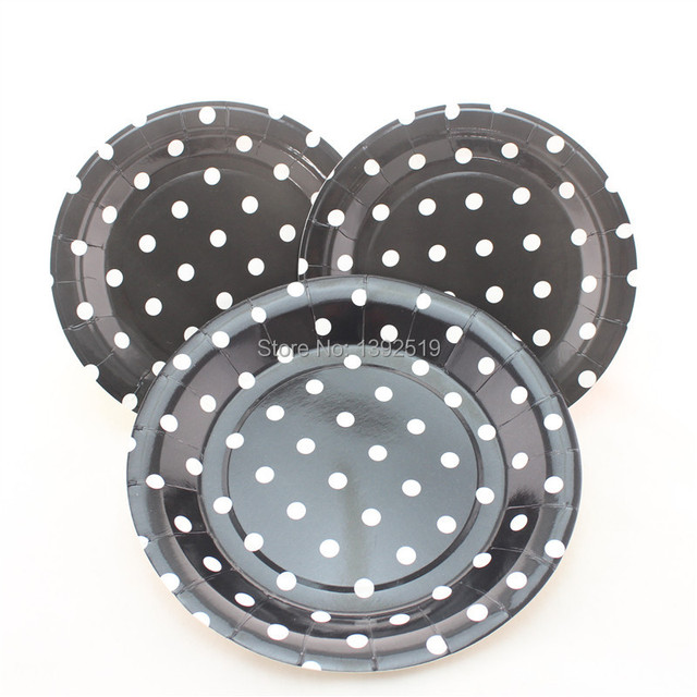 Free Shipping 48pcs Black White Polka Dot Paper Plates 7  Birthday Party Cake Plates Party  sc 1 st  AliExpress.com & Free Shipping 48pcs Black White Polka Dot Paper Plates 7