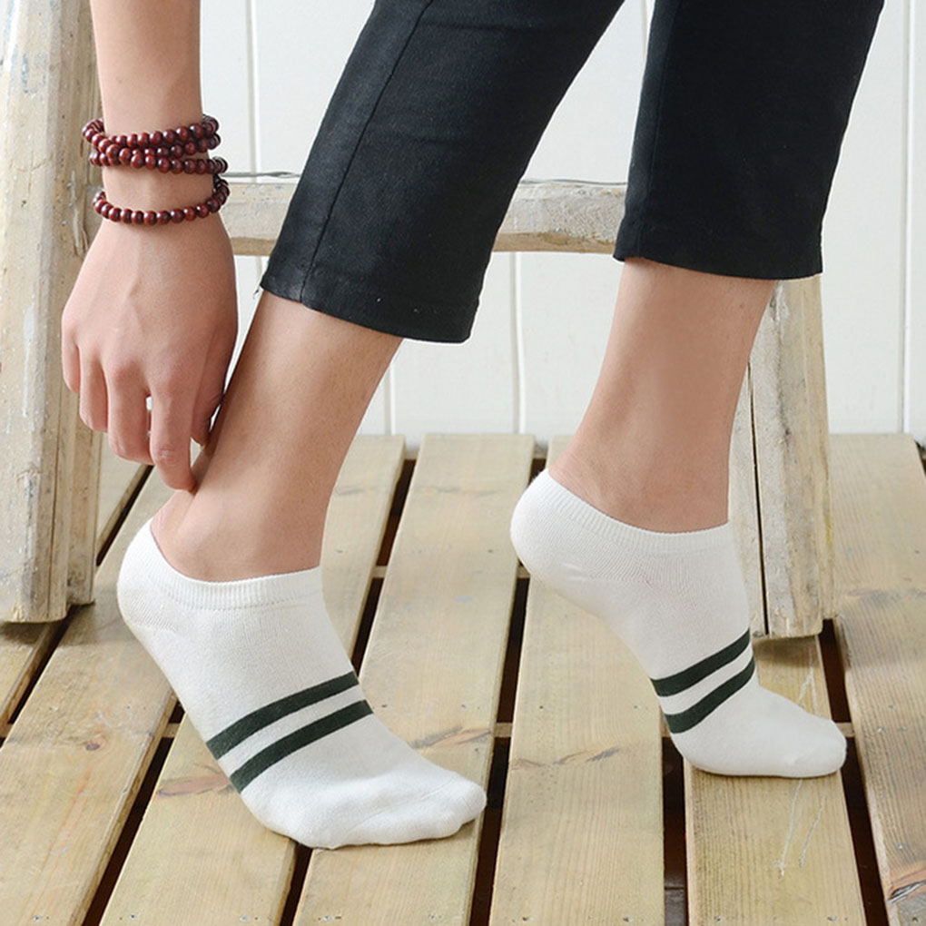 New Arrival Men's Cotton Socks Stripe Pattern Deodorant Sweat Resist Low Cut Socks  Invisible Sock