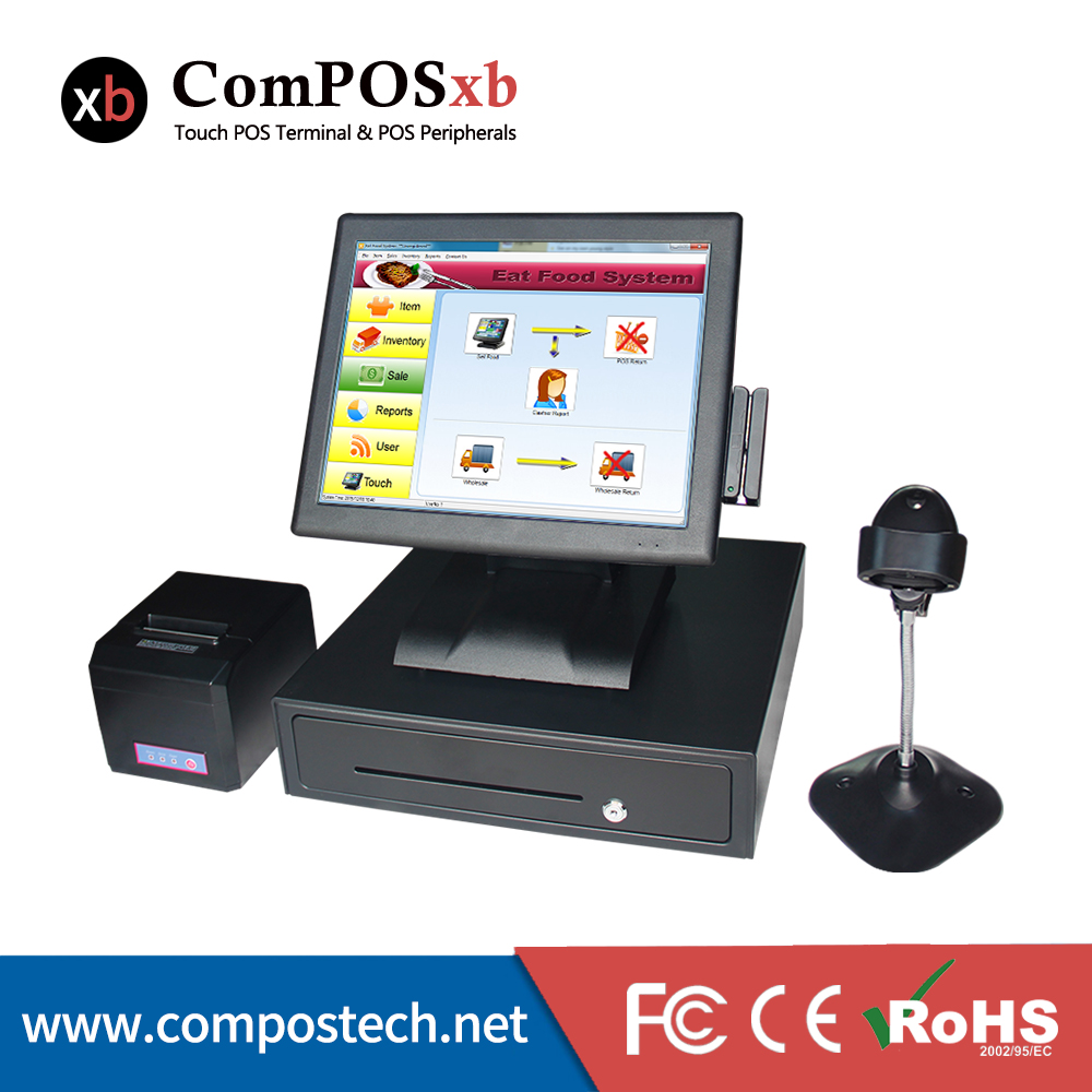 15 inch Touch Screen POS Terminal restaurant supermarket bill payment machine with 80mm thermal printer/cash drawer
