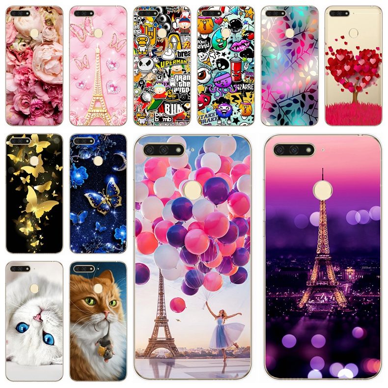 """Silicone Cover For Huawei Honor 7C Case 5.7"""" inch 5.99' Printing Luxury Cute Animal Cases For Huawei Honor 7 C 7C Fundas Coque"""