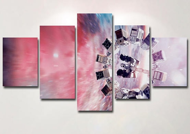 5 Panels Interstellar Serics Canvas Painting Home Decor Vintage Wall ...