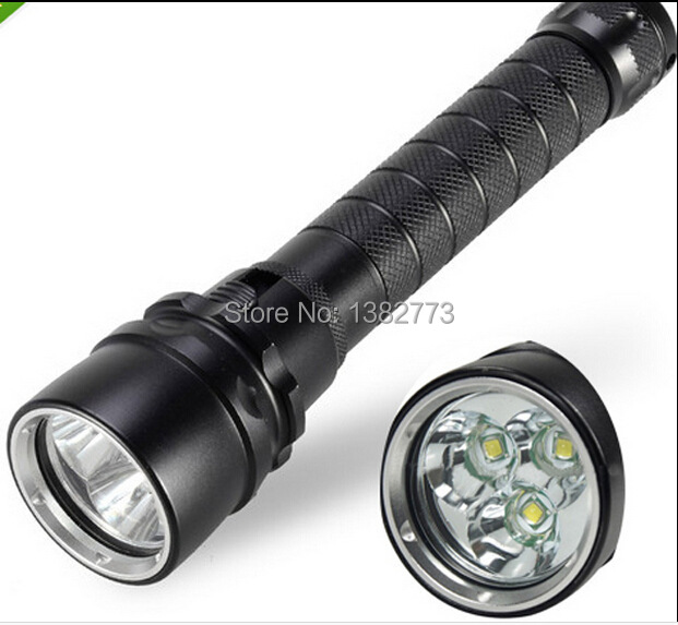 4000 Lumen 30W 3X CREE XML T6 LED Diving Flashlight Torch 100M Underwater Waterproof 18650 LED Flash Light 6000lumens bike bicycle light cree xml t6 led flashlight torch mount holder warning rear flash light