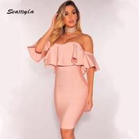 Seamyla New Fashion Strapless Bandage Dresses Sexy Ruffles Slash Neck Bodycon Clubwear 2017 Women Evening Party