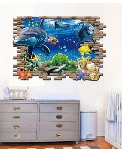 Image 3 - Дельфин черепаха Seastars морской мир 3D креативный настенный стикер для украшения дома кухни дома DIY настенные наклейки синий Декор
