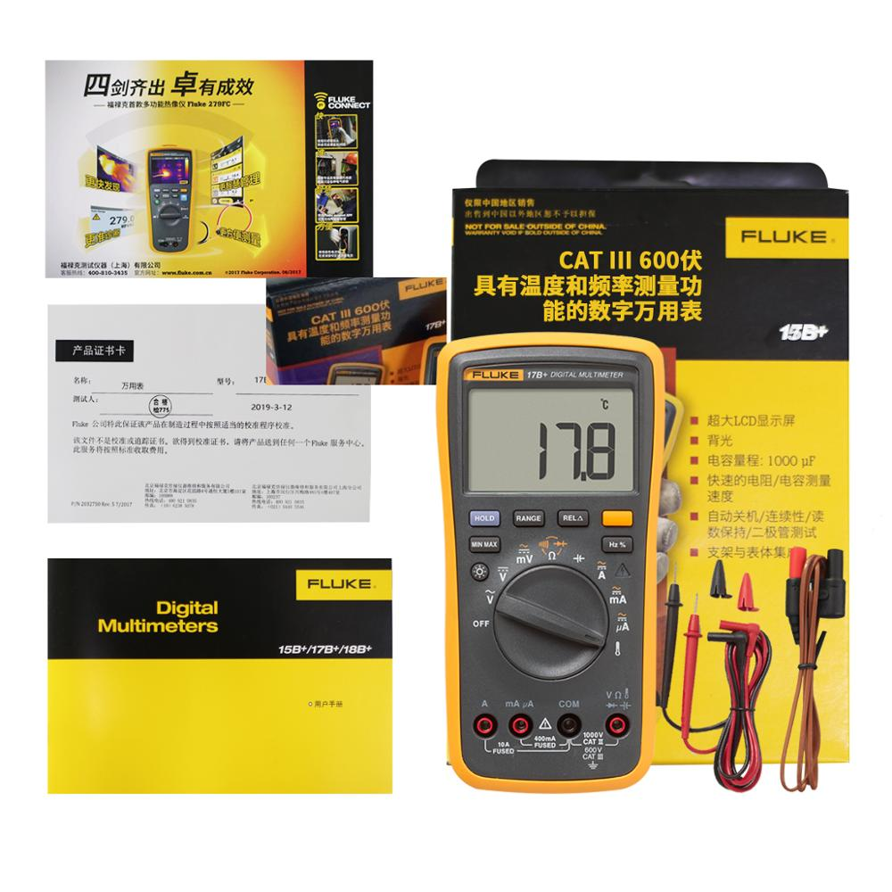 Image 5 - FLUKE 17B+ Digital multimeter AC/DC Voltage Current Capacitance Ohm Temperature tester Auto/Manual Range Measurement-in Multimeters from Tools