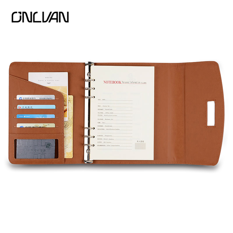 ONLVAN PU Leather Notebook Brown Black New Fashion Business School Supplies Office Stationery Travelers Bullet Journal Diary ootdty new fashion anime theme death note cosplay notebook new school large writing journal 20 5cm 14 5cm