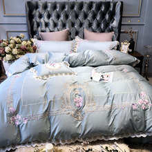 Embroidery Luxury blue Lace100S Egyptian cotton Bedding sets Queen King Royal Duvet cover Bed sheet set Pillowcase 4/6pcs(China)