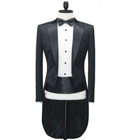 custom made to measure black Wool tailcoat bespoke long tail black tuxedo tailcoat tailored men suits