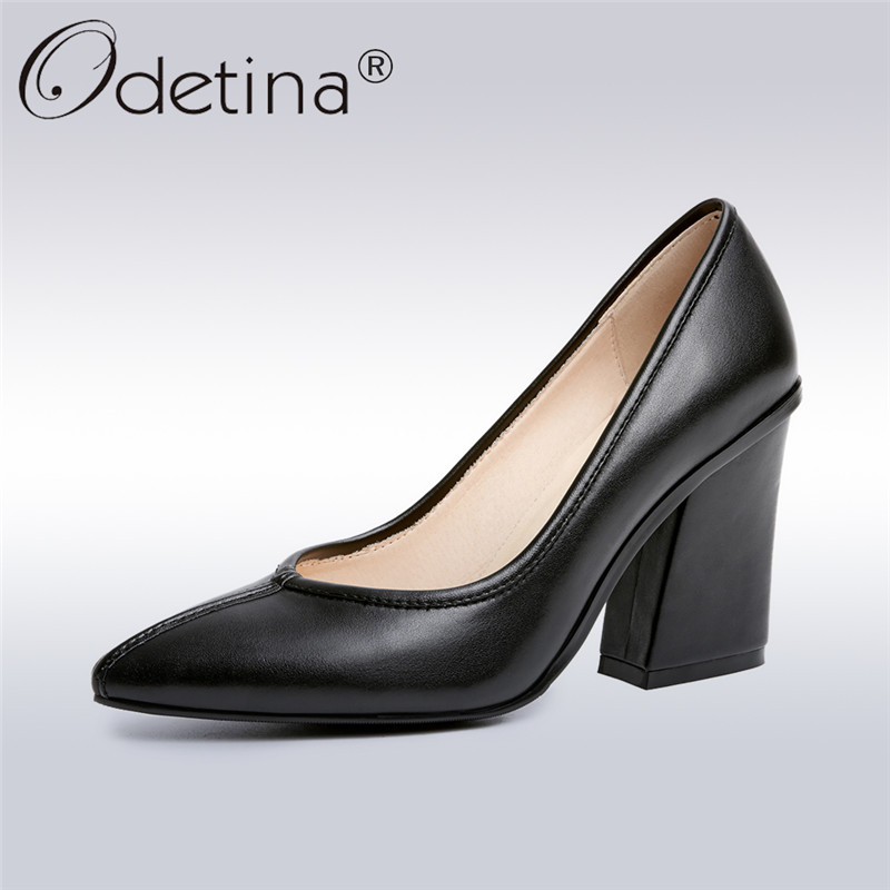Odetina 2018 New Fashion Women Genuine Leather Pumps Square High Heels Ladies Pointed Toe Pumps Elegant Office Shoes Big Size 42 ladies comfortable women office shoes sandals square heels spring 2017 real leather round toe solid high heels big size 40 41 42