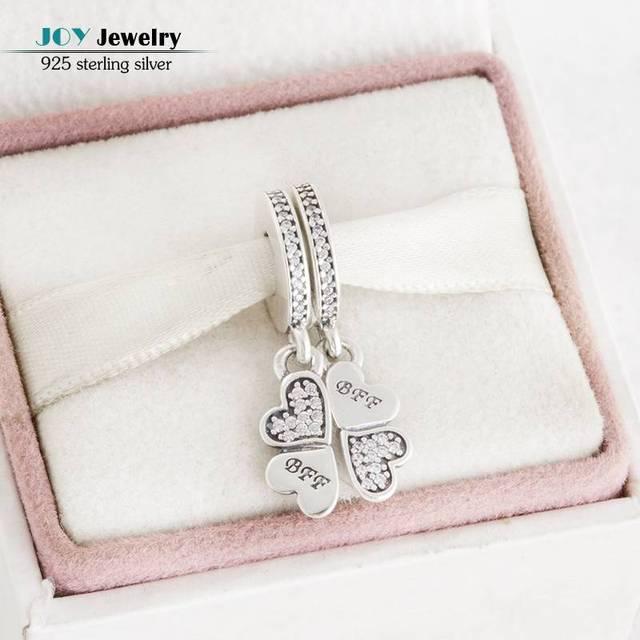 Fit Pandora Bracelet 2016 Outono CZ Melhores Amigos Para Sempre Pingente Trevo Coração Charme Beads 925 Sterling Silver Jóias Diy Fazendo