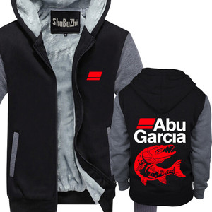 Image 1 - new arrived ABU GARCIA shubuzhi men winter padded zipper sweatshirt fashion casual hoodies thick fleece jacket coat hoody