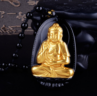 High Quality Gold+ Natural Black Obsidian Carved Buddha Lucky Amulet Pendant For Women Men pendants Fashion Jewelry