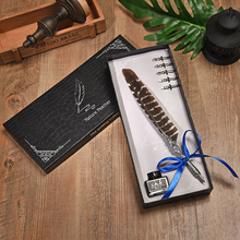 цена на Peacock Feather Pen Set Birthday Gift Metal Fountain Pen Luxury Gift Box Set Writing Dip Water Pen English Calligraphy Pen 5 Nib