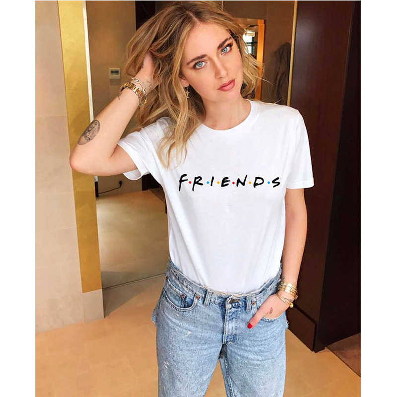 Tee Friends White Tshirt Women Short Sleeve Tops Harajuku Kawaii Summer Clothes Casual Shirts Modis T-shirts Plus Size Printed